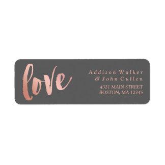 Grånar rosa guld för kärlek | & | returadress etikett