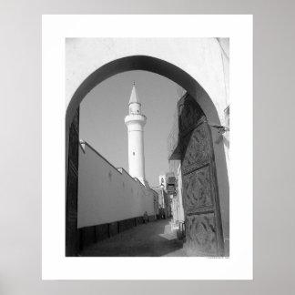 Gränd nära moskén (B&W) Poster