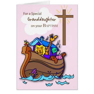 Grandaughter dopgrattis, Noahs ark Hälsningskort