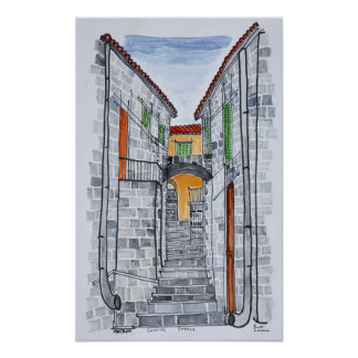 Granitbyggnader, Sartene | Corsica, frankrike Poster