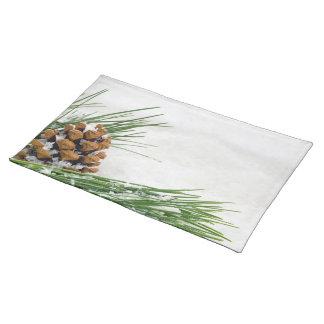 Grankotte och gren med snötrasabordstablett bordstablett