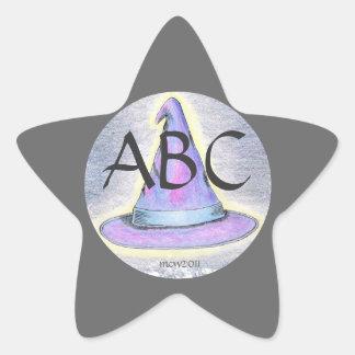 Gräns för grått för Monogram för häxatrollkarlhatt Stjärnformat Klistermärke