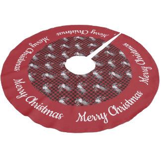 Gräns för röd svart pläd för Caribouren röd Julgransmatta Borstad Polyester