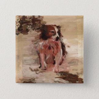 """""""Gränsa collien i snö"""" som målar på en knäppas Standard Kanpp Fyrkantig 5.1 Cm"""