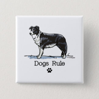 Gränscollie - hundar härskar standard kanpp fyrkantig 5.1 cm