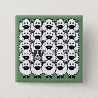 GränsCollie i fåren Standard Kanpp Fyrkantig 5.1 Cm