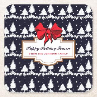 Grästräd och lycklig julhelgfamilj för snö underlägg papper kvadrat