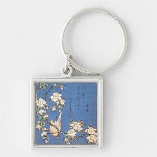Gråta körsbäret och domherre vid Hokusai Fyrkantig Silverfärgad Nyckelring