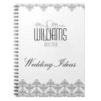 Grått 2 för damast för bröllopanteckningsbok anteckningsbok med spiral