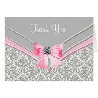 Grått damastast tack för rosor OBS kort
