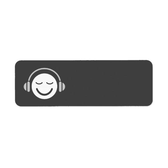 Grått för coola för musiker för musiksmileyDJ Returadress Etikett