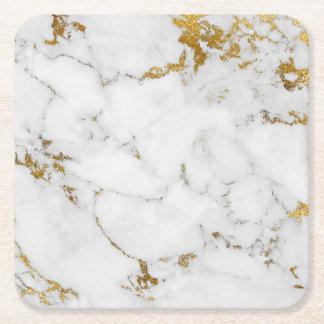Grått för marmor för Carrara vit kvadrerar guld- Underlägg Papper Kvadrat