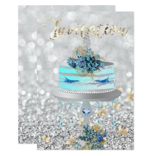Grått för silver för blått för snärtar för glitter 8,9 x 12,7 cm inbjudningskort