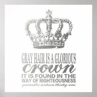 Grått hår är en härlig krona, silverscripture poster
