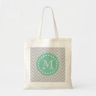 Grått och grön modern sparreMonogram för Mint Budget Tygkasse