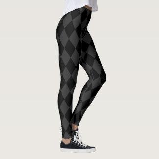 Grått och svart Harlequinmönster Leggings