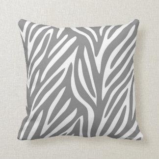 Grått och vit Stylized zebra mönstrad Kudde