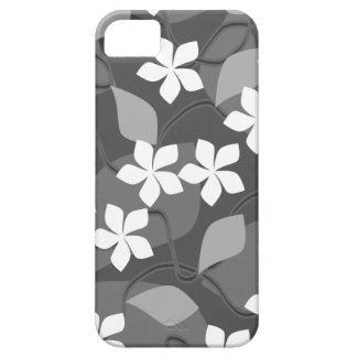Grått- och vitblommor. Blom- modell iPhone 5 Case-Mate Fodral