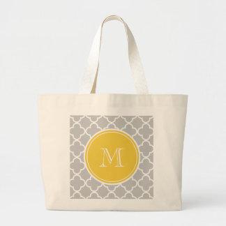 Grått Quatrefoil mönster, gul Monogram Jumbo Tygkasse