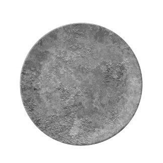 Grått rått hårdnar/cementerar Åtlöje-Struktur Porslinstallrik