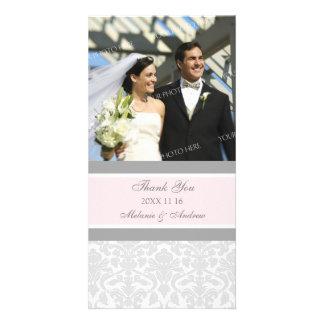 Grått tack för rosor som gifta sig fotokort