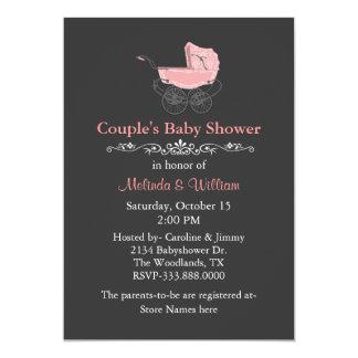 Grått vintagestilpars baby shower 12,7 x 17,8 cm inbjudningskort