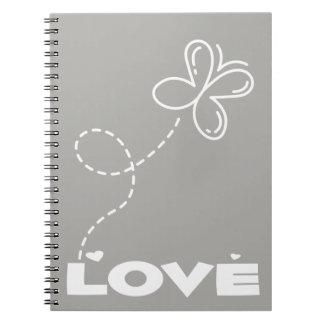 Grått- & vitfjäril & hjärtakärlek - bröllop anteckningsbok
