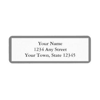 Grått- & vitkuvertreturetiketter returadress etikett