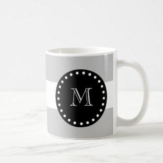 Grått vitrandmönster, svart Monogram Kaffemugg