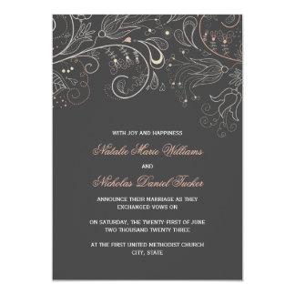Grått w/Tulip- bröllopmeddelande för blommönster 12,7 X 17,8 Cm Inbjudningskort