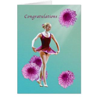Grattis danshögläsning, Ballerina, rosa Mu Hälsningskort