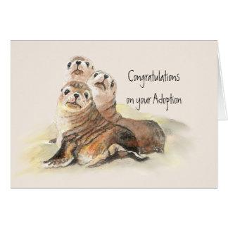 Grattis din gulliga sälar för adoption hälsningskort