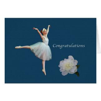 Grattis högläsning, Ballerina, vitpion Hälsningskort