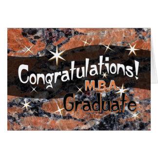 Grattis M.B.A. Avlägga examen Orange och svart Hälsningskort