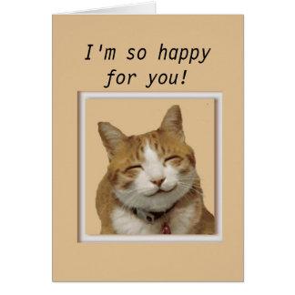 Grattis med den lyckliga katten hälsningskort