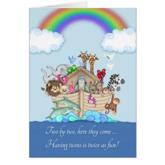 Grattis på att förvänta twillingar - Noahs ark Hälsningskort
