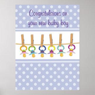 Grattis på din nyfödd bebispojke poster