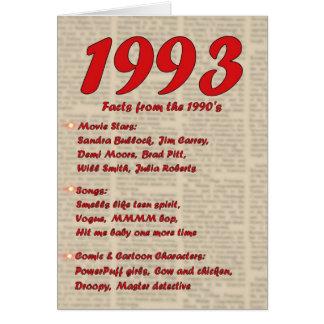 Grattis på födelsedagen 1993 år av 90-tal för hälsningskort