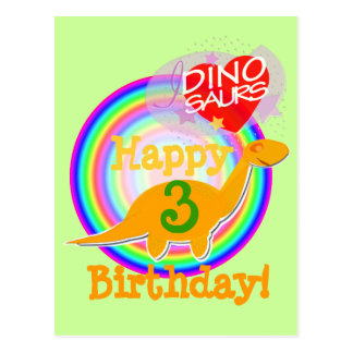 Grattis på födelsedagen 3 år Dino vykort