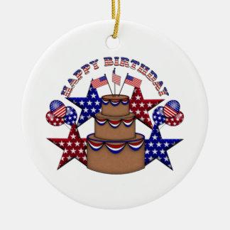 Grattis på födelsedagen 4th Juli Julgransprydnad Keramik