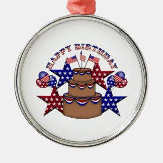 Grattis på födelsedagen 4th Juli Julgransprydnad Metall