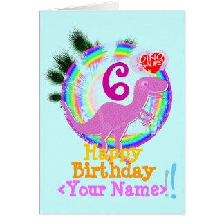 Grattis på födelsedagen 6 år, ditt kända T-Rex kor Hälsningskort