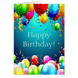 Grattis på födelsedagen - blåttfärgadballonger - hälsningskort