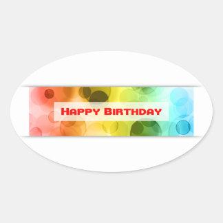 grattis på födelsedagen (bokeh) ovalt klistermärke