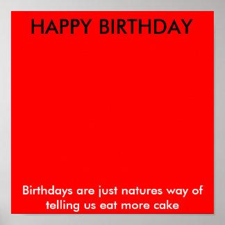 GRATTIS PÅ FÖDELSEDAGEN födelsedagar är precis nat Affisch