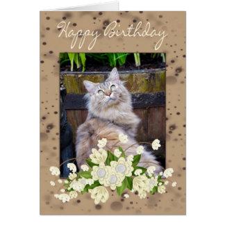 Grattis på födelsedagen födelsedagkort med katten, hälsningskort