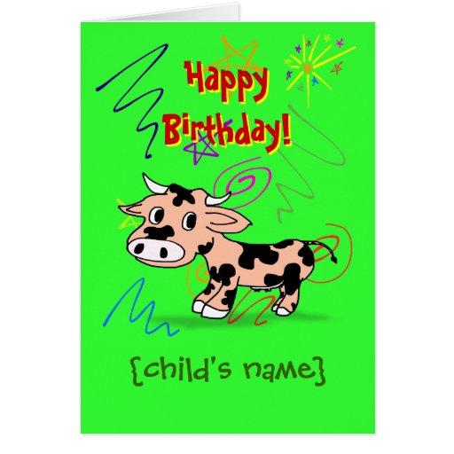 Grattis på födelsedagen för barn med tecknadkon kort