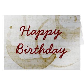 grattis på födelsedagen för kaffefläckmusik hälsningskort