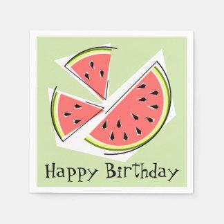 Grattis på födelsedagen för vattenmelongröntdelar servetter