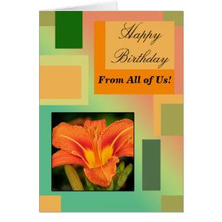 Grattis på födelsedagen från allihop, pastell hälsningskort